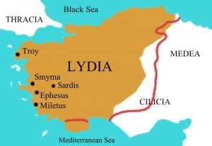Mapa de Lidia en la antigüedad