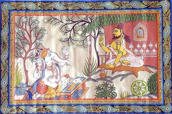 Vyasa dictando el Mahabharata a Ganesh