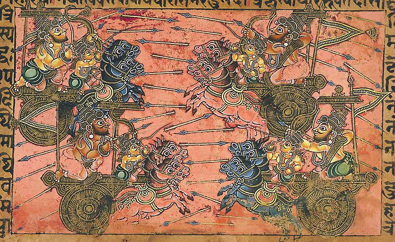 Kripa combatiendo a Shikhandin