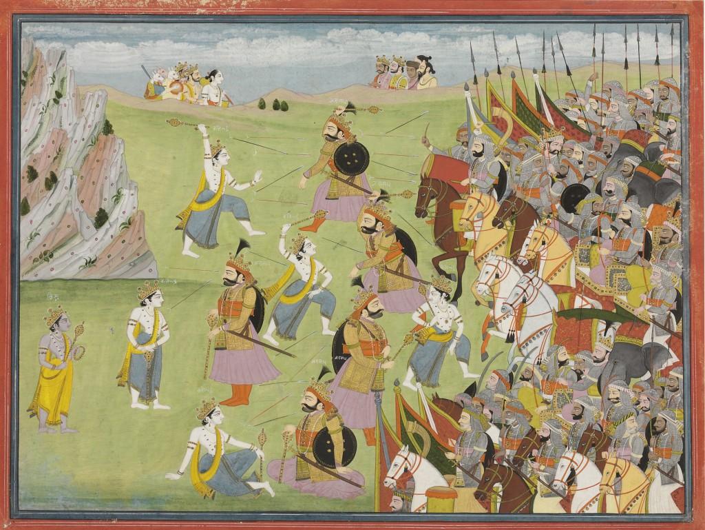 Lámina_del_Mahabharata_Balabhadra_combate_a_Jarasandha